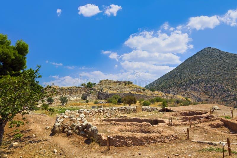 Townen Mycenae fördärvar, Grekland royaltyfria foton