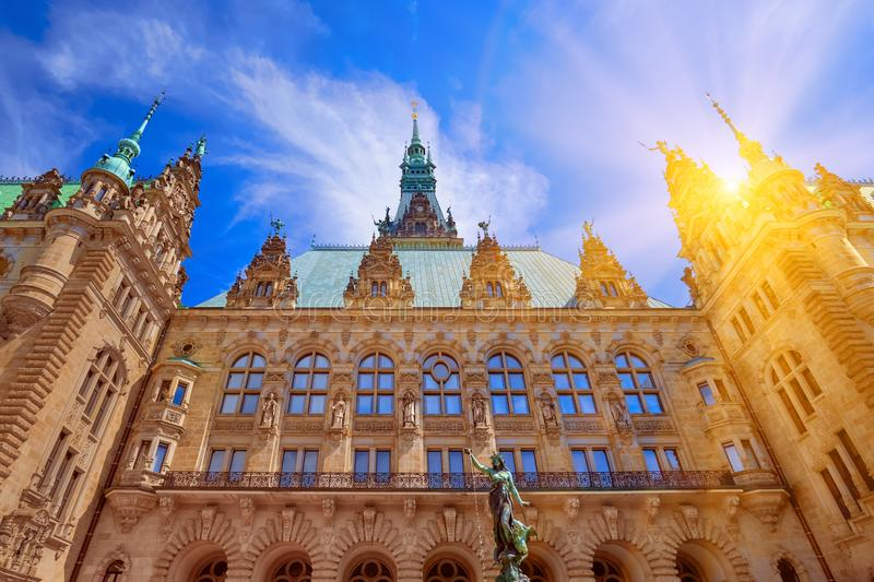 Townhall city hall tower in Hamburg, Germany on a sunny summer day royalty free stock photos