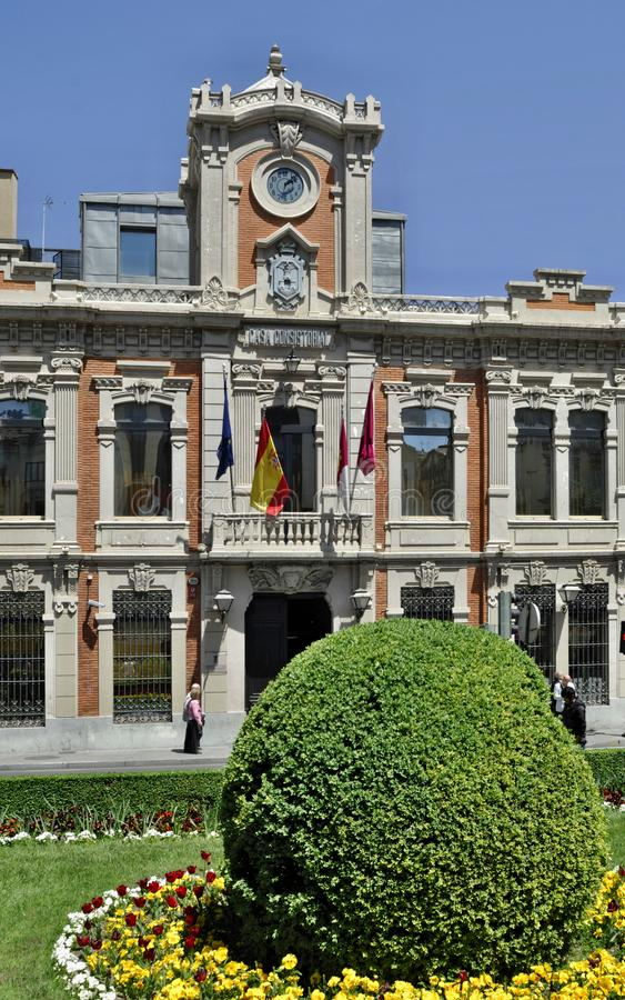 Townhall histórico en Albacete - España imagen de archivo