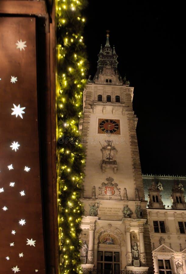 Townhall - I - tiempo de la Navidad - Hamburgo - Alemania imagen de archivo libre de regalías