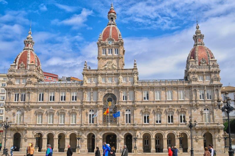 Townhall no La Coruna foto de stock royalty free