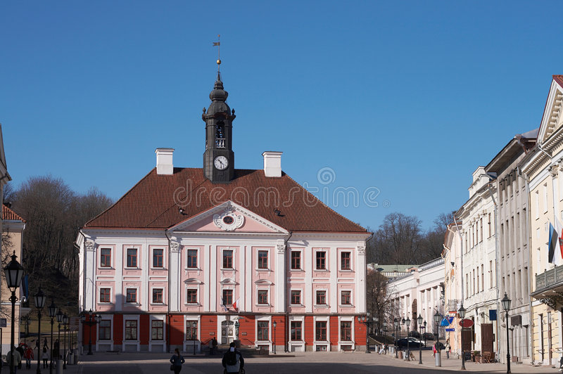 Townhall in Tartu stock photo
