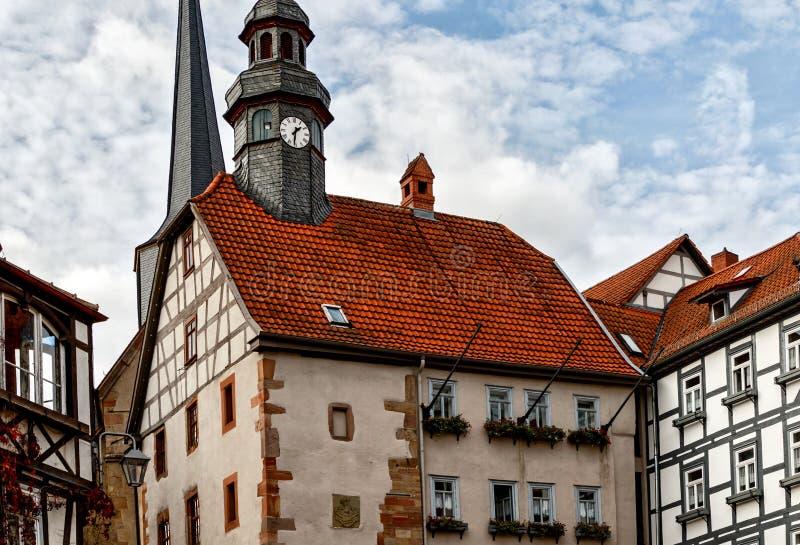 Townhall van Middeleeuwse Schlitz Vogelsbergkreis, Hesse, Duitsland royalty-vrije stock afbeelding