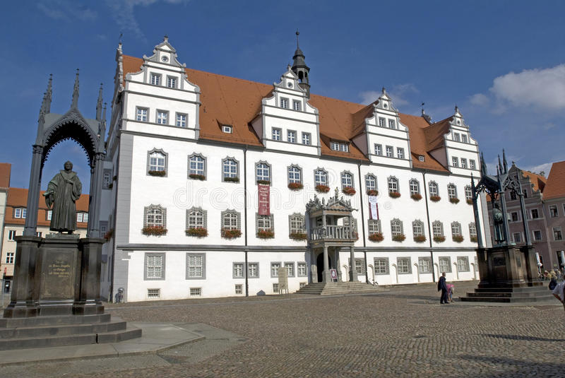 Townhall in Wittenberg, Germania fotografie stock