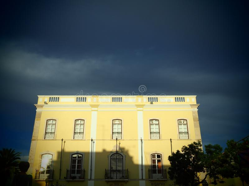 Townhouse in Lagos, Portugal, in a dramatic light royalty free stock photography