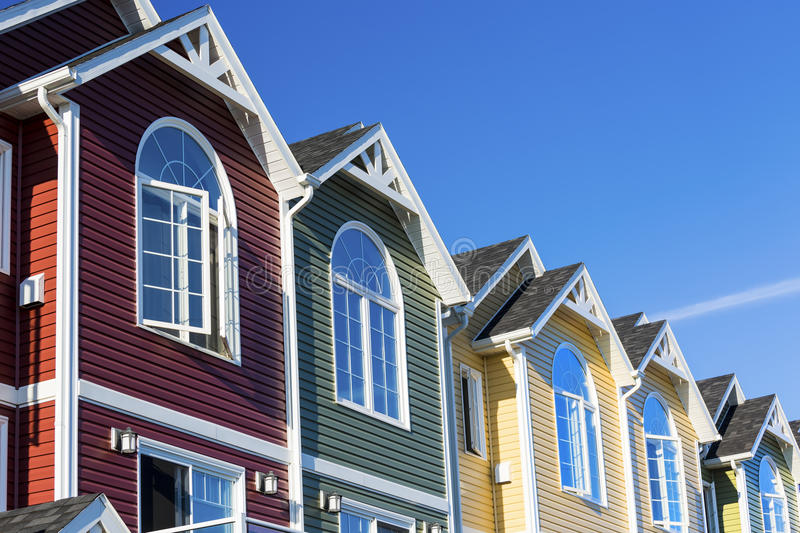 Townhouse Row. A row of colorful new townhouses or condominiums royalty free stock image