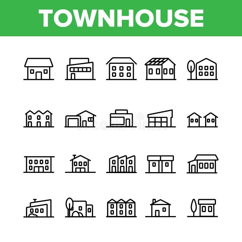 Townhouses, διανυσματικά γραμμικά εικονίδια κατοικημένων κτηρίων καθορισμένα απεικόνιση αποθεμάτων