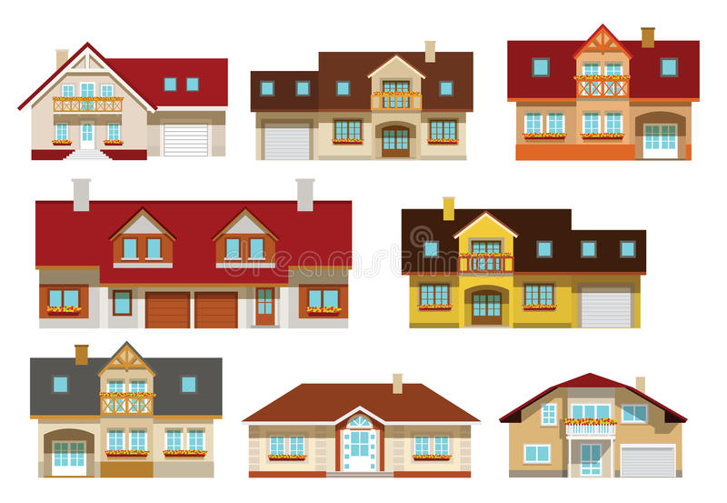 Townhouses συλλογή ελεύθερη απεικόνιση δικαιώματος