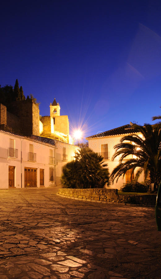 Townhouses and bell tower, Antequera, Spain. stock photos