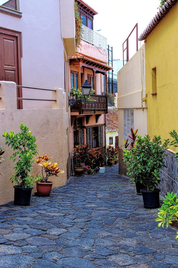 Townhouses in the center of Tazacorte stock photo