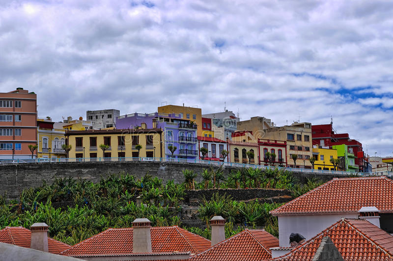 Townhouses in the center of Tazacorte stock photography