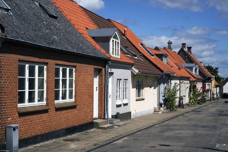 Townhouses. In a Danish small town called Middelfart stock images