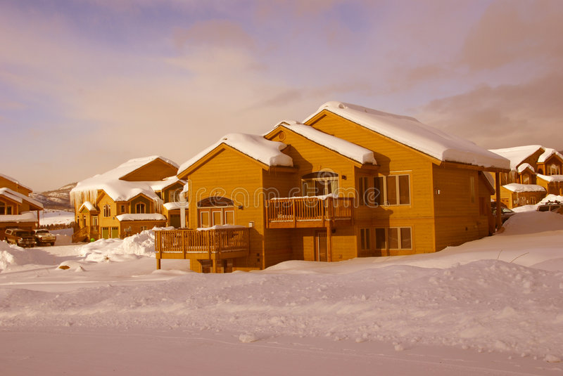 Townhouses after heavy snowstorm royalty free stock images
