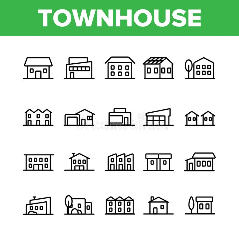 Townhouses, Residential Buildings Vector Linear Icons Set stock illustration