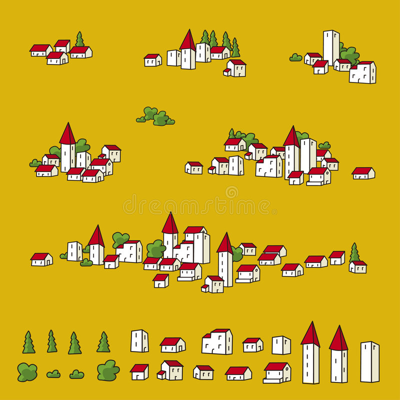 Towns for maps (vector) stock illustration