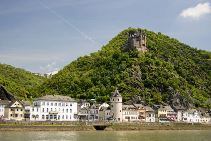 Towns och slott längs den Rhine dalen arkivfoto