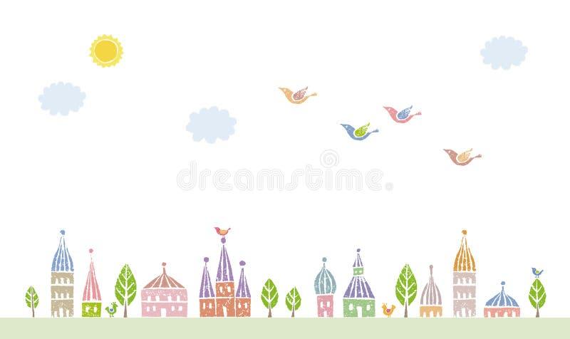 Townscape остроконечных настелинных крышу милых домов бесплатная иллюстрация