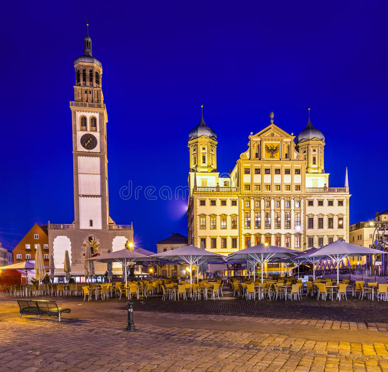 Townscape of Augsburg, Germany. Augsburg, Germany townscape at Rathausplatz stock images