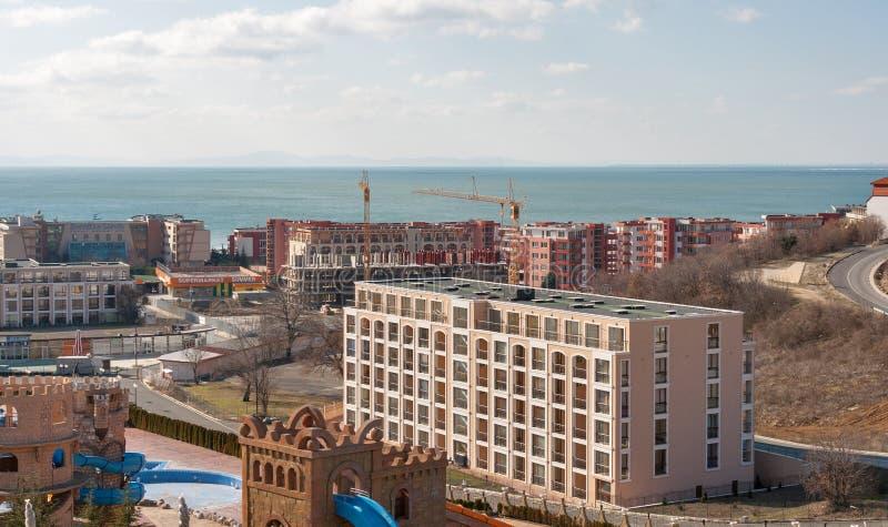 Townscape da vila Elenite do recurso luxuoso, Bulgária imagem de stock
