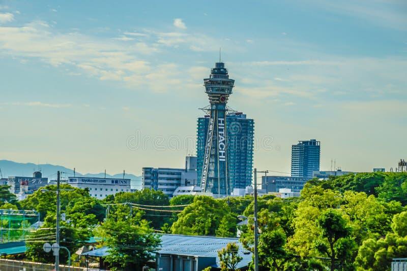 Townscape di Osaka dal terminal Tsutenkaku di Abenobashi fotografie stock