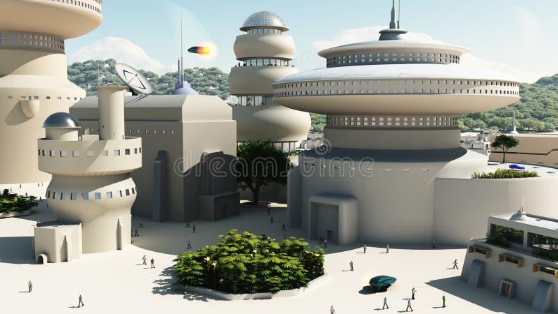 Townscape futurista da ficção científica ilustração do vetor