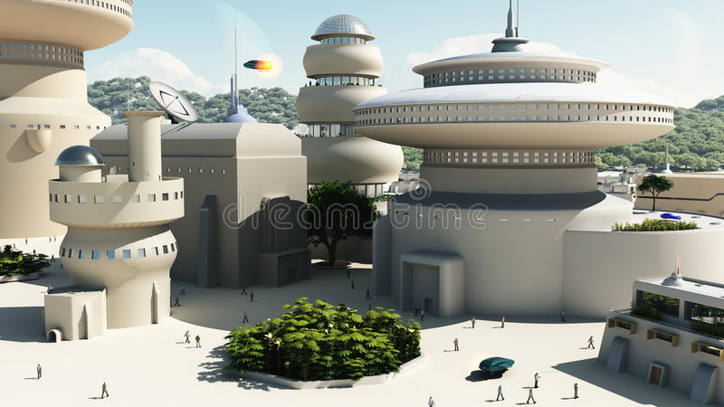 townscape sci fi футуристическое иллюстрация вектора