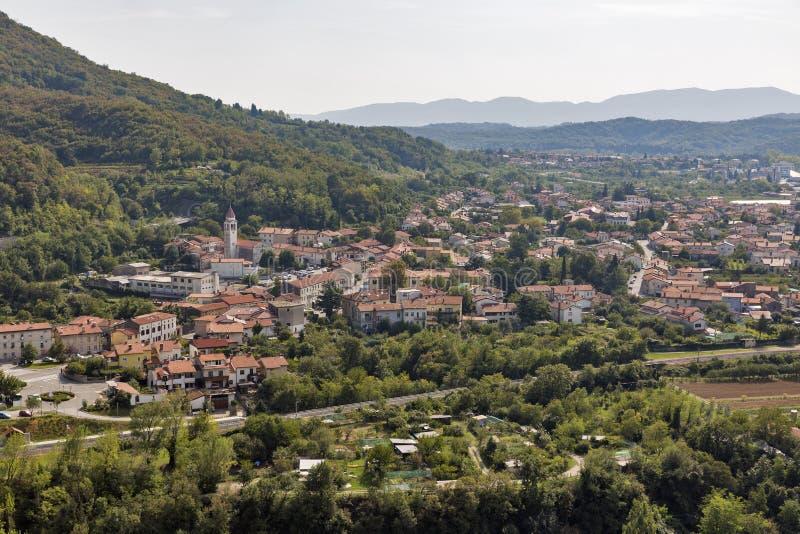 Townscape Solkan в Словении стоковые изображения