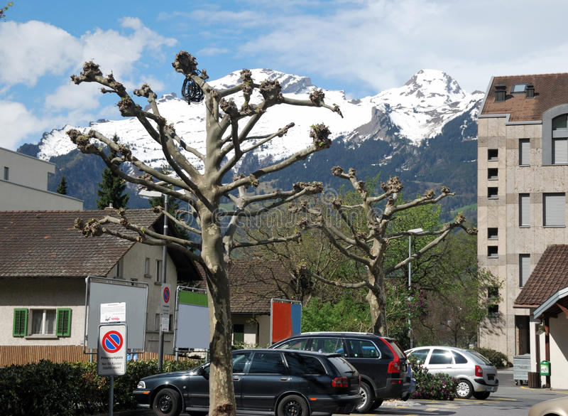 Townscape of Vaduz. Lichtenstein. april 2012 royalty free stock images