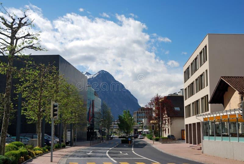 Townscape van Vaduz stock foto