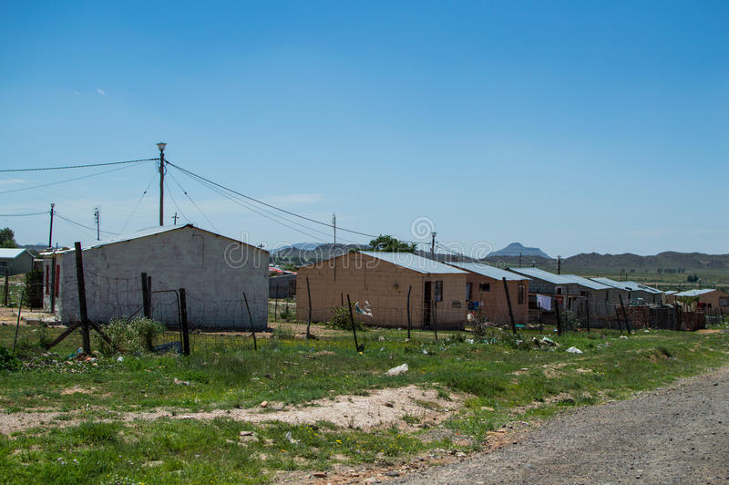 Township Houses in Beautiful Landscape, Free State, South Africa stock image