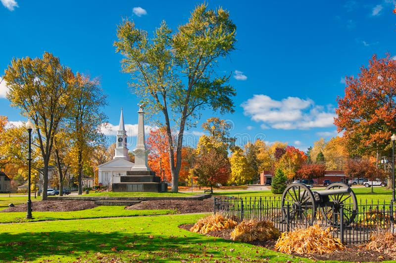 Town square in autumn. The township owned square in Twinsburg, Ohio, with landmarks and autumn colors royalty free stock photography