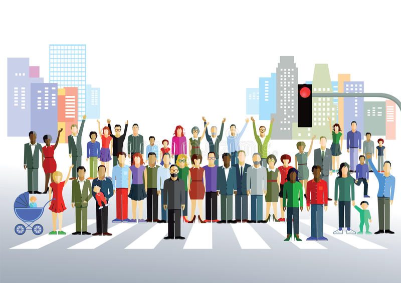 Town people posing. Colorful illustration of joyful townspeople, men, women, children and babies posing in a large group on a road with a pedestrian crossing and royalty free illustration