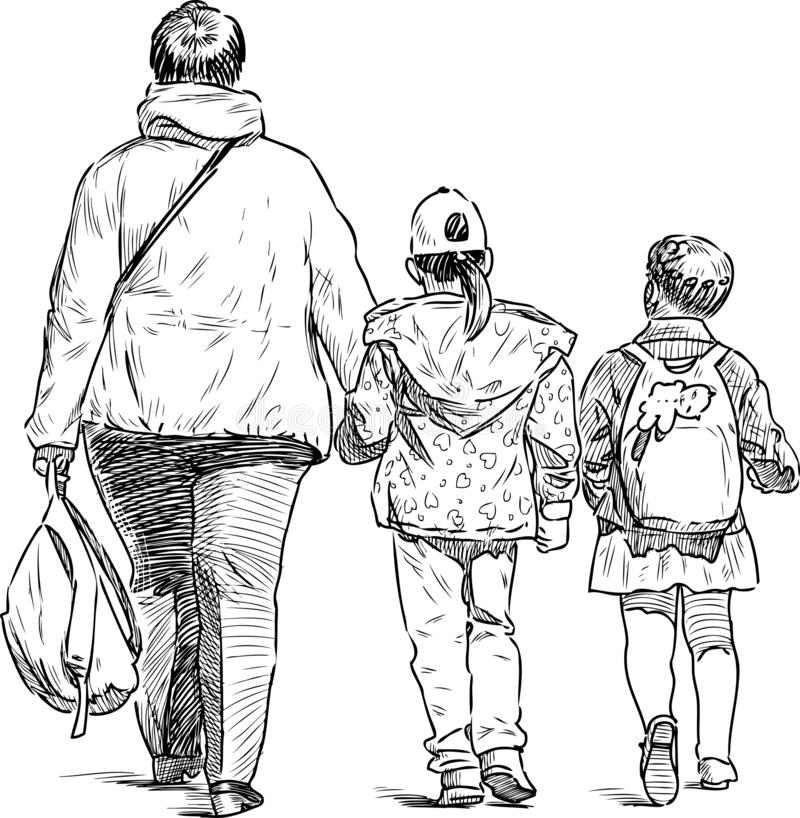 A townswoman with two little girl going from a school royalty free illustration