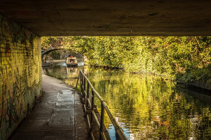 Towpath beside the Regent`s Canal, London stock photography