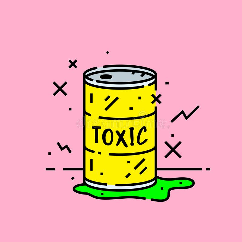Toxic barrel spill icon stock illustration
