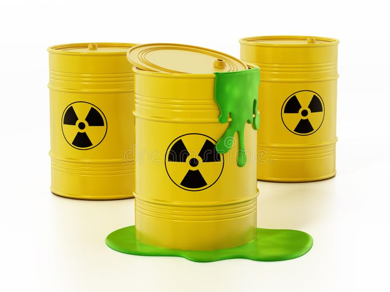Toxic barrels with a leaking green substance. 3D illustration vector illustration