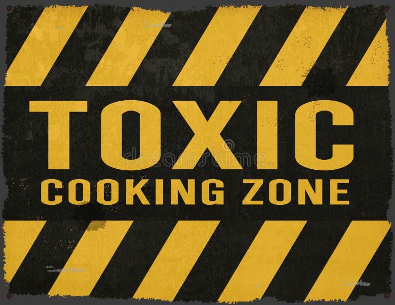 Toxic Cooking Warning Sign Grunge Metal royalty free stock photo