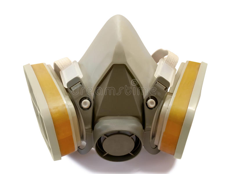 Toxic dust respirator. Isolated on white background royalty free stock image