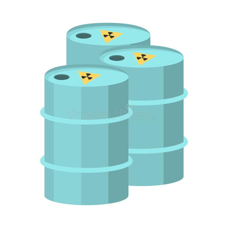Toxic emissions in metal barrels.Clipart raster flat illustration. Nuclear barrels, radioactive waste. Radioactive garbage emissions. environmental pollution royalty free illustration