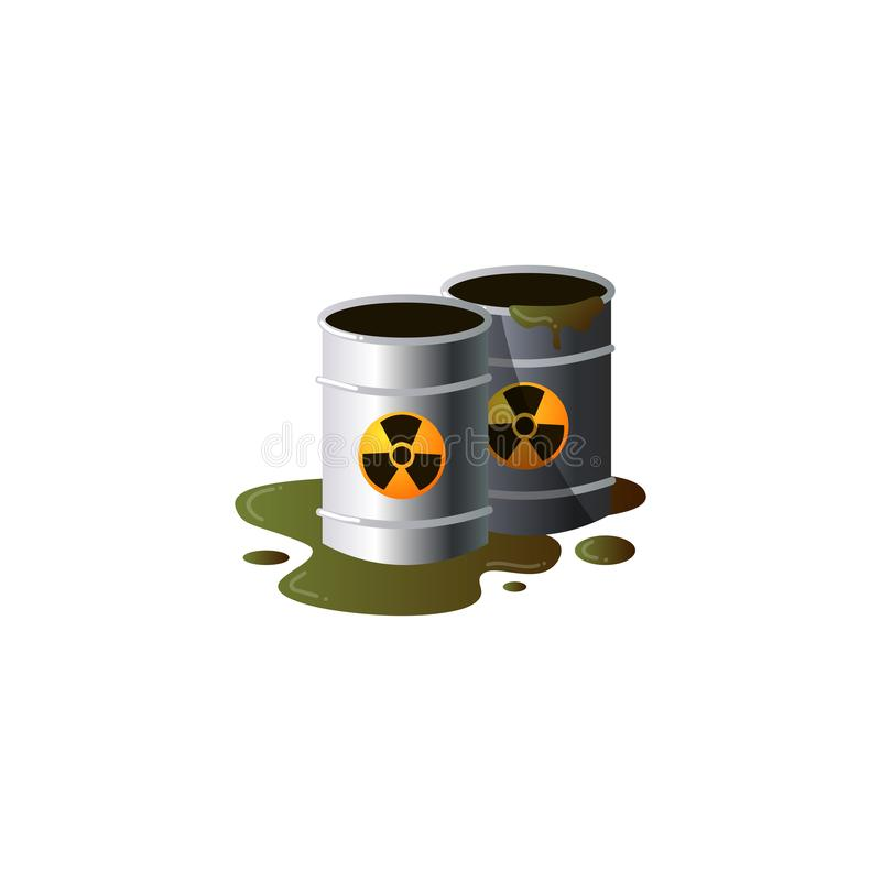 Toxic emissions in metal barrels with radioactive waste and spilled liquid.Clipart raster flat illustration. Nuclear barrels, radioactive waste. Radioactive vector illustration