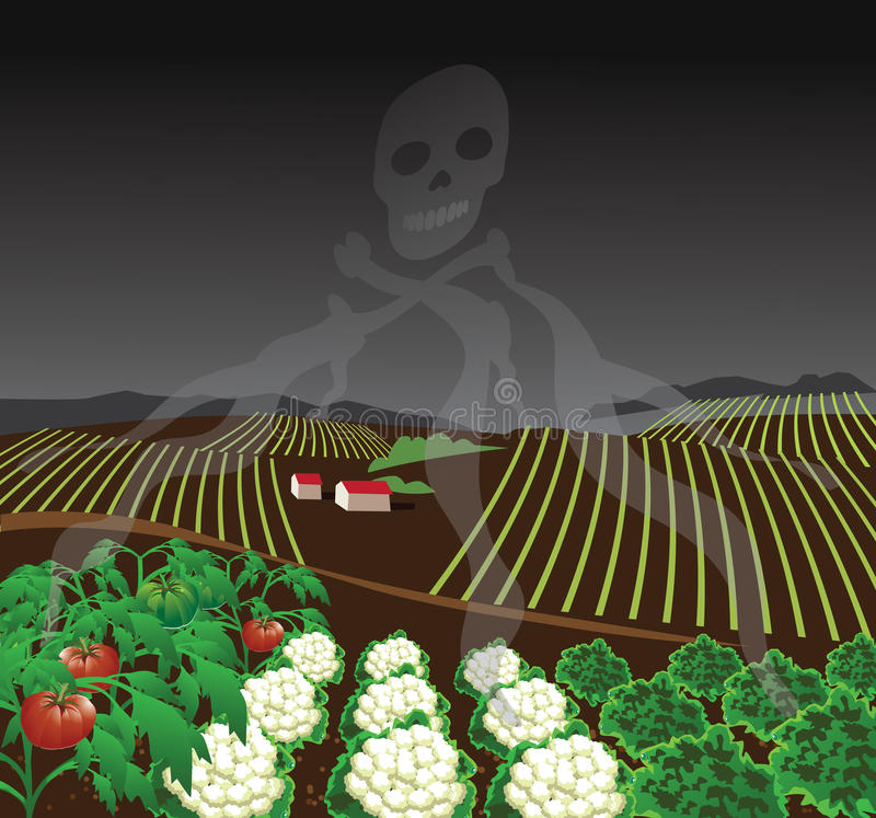 Toxic farm with chemical fumes. Forming skull and crossbones. EPS 10 vector royalty free stock illustration for ad, promotion, poster, flier, blog, article stock illustration