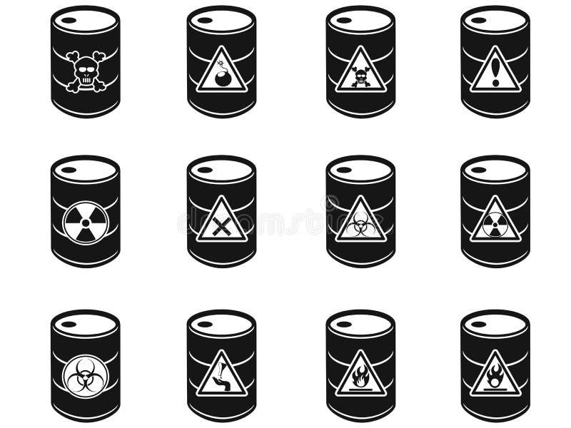 Toxic hazardous waste barrels icon. Isolated Toxic hazardous waste barrels icon on white background stock illustration