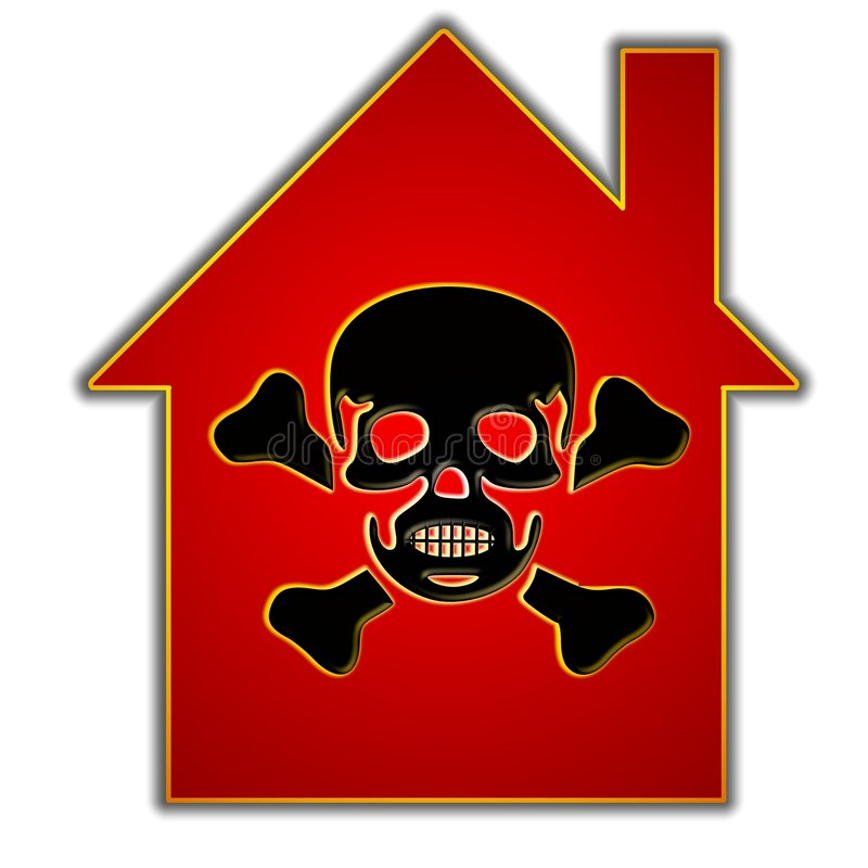 Toxic Homes and Housing. An illustration featuring a red house silhouette with a skull and crossbones on the front to represent homes with toxic elements such as royalty free illustration