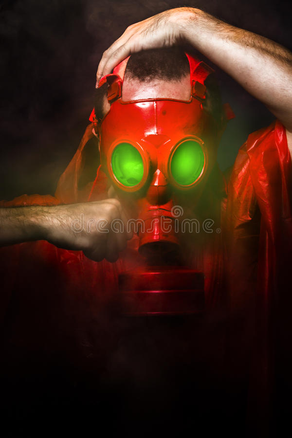 Download Toxic Horror Concept, Man With Red Gas Mask. Stock Illustration - Image: 32393585
