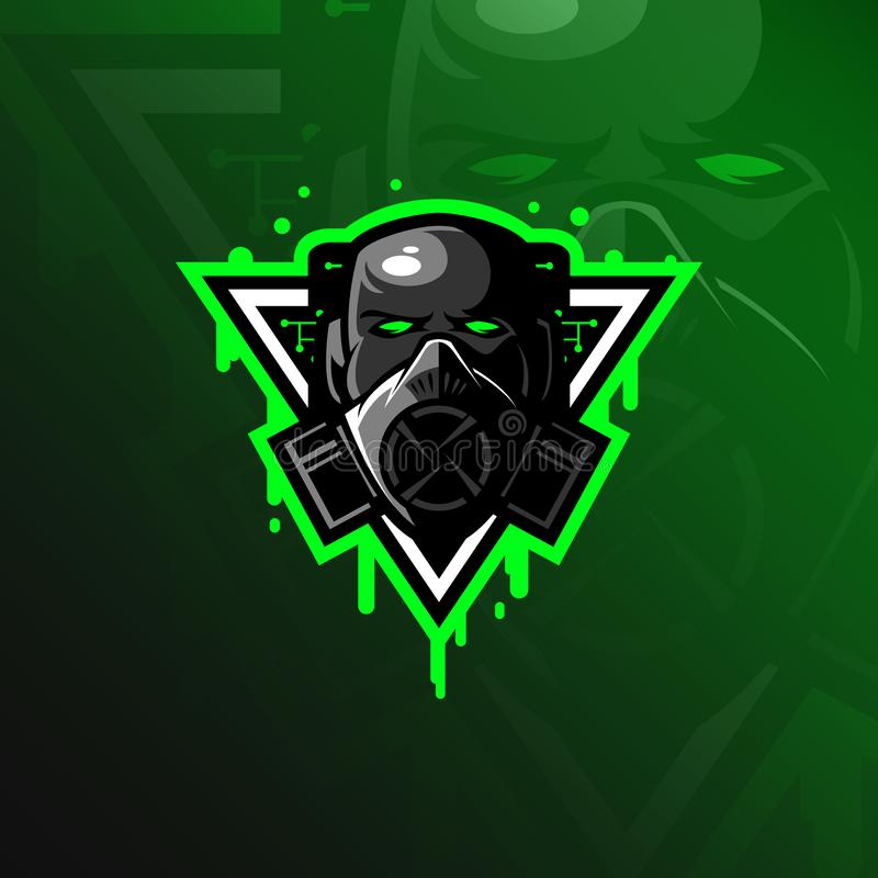 Toxic mascot logo design vector with modern illustration concept style for badge, emblem and tshirt printing. head toxic. Illustration stock illustration