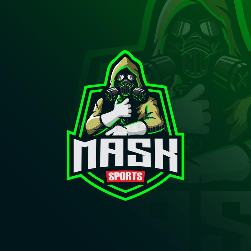Toxic masker mascot logo design vector with modern illustration concept style for badge, emblem and tshirt printing. mask stock illustration