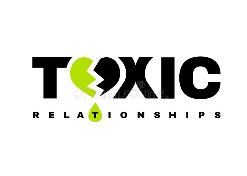 Toxic Relationships logotype. Toxic relationships sign. Editable vector illustration in green and black color. Communication, psychology and people behavior vector illustration
