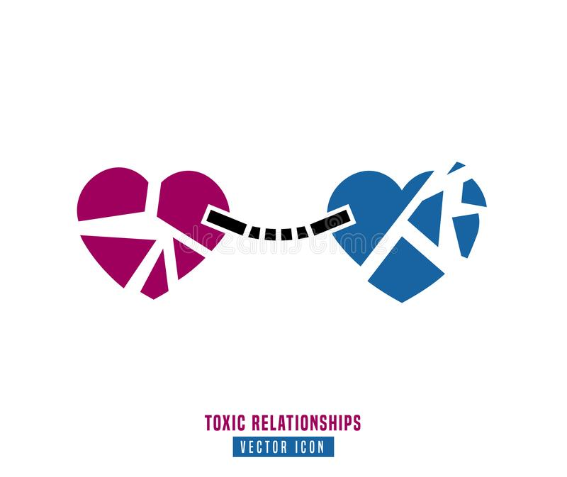 Toxic relationships sign. Editable vector illustration in pink and blue color. Communication, psychology and people behavior concept useful for pictogram royalty free illustration