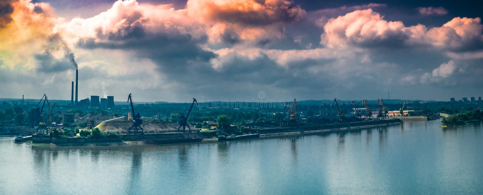 Toxic smoke over city. Ruse city, Bulgaria stock photos