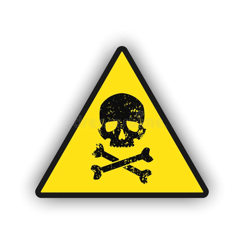 Toxic warning yellow sign icon isolated on white background. Hazard or warning sign with skull and bones, Vector EPS 10 royalty free illustration